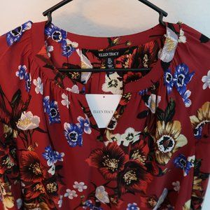 Ellen Tracy cranberry red floral Peasant Top Large